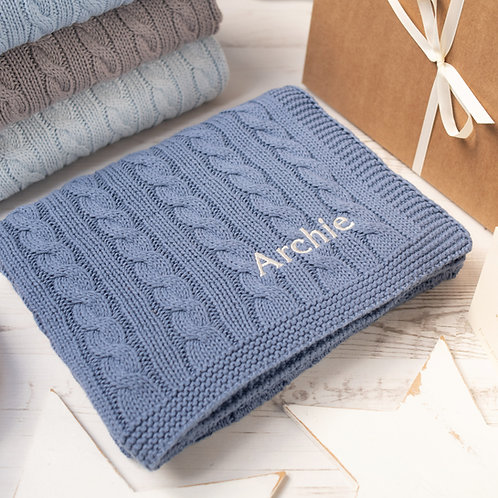 Toffee Moon Storm Blue Cable Personalised Baby Blanket with Pale Grey Embroidered Name