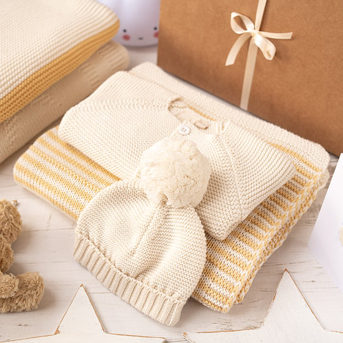 Custard and Cream Dainty Stripe Baby Gift Set