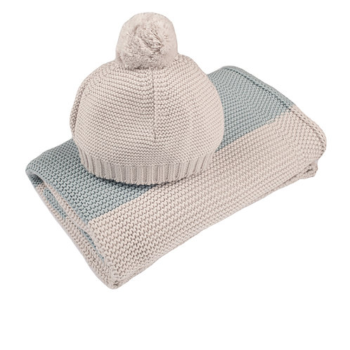Aqua & Arctic Grey Maxi Stripe Baby Blanket & Hat Set cut out