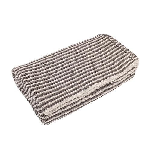 Charcoal & Arctic Grey Mini Stripe  Baby Blanket