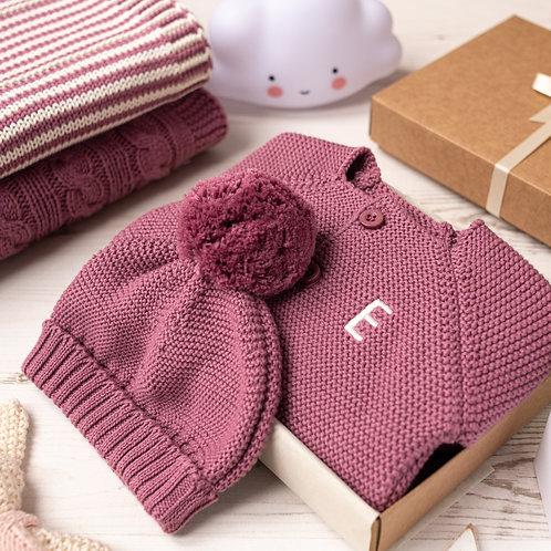 Dusky Rose Baby Bubble Cardigan and Bobble Hat Gift Set