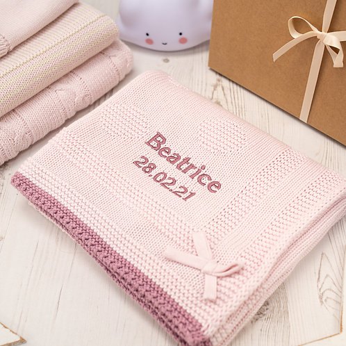 Toffee Moon Petal Pink Spot & Bow Personalised Baby Blanket with Dusky Rose Embroidered Name