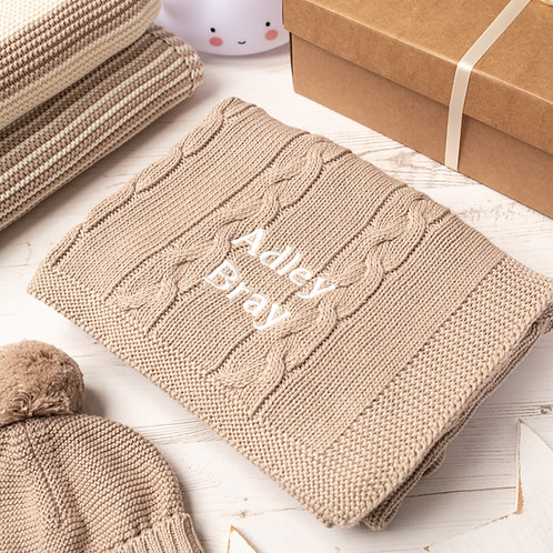 Toffee Moon Fudge Chunky Cable Personalised Baby Blanket with Cream Embroidered Name