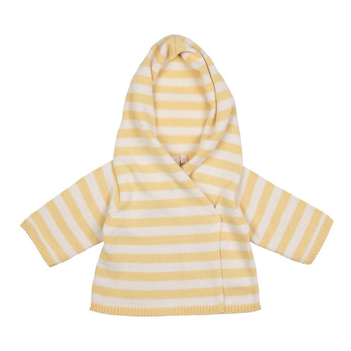 Custard Yellow & Cream Striped Hooded Baby Cardigan cut out