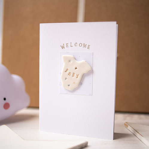 Welcome Baby Handmade Ceramic Gift Card