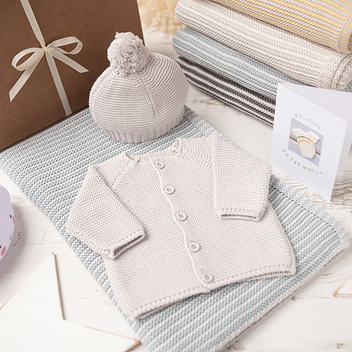 Mini Stripe Aqua & Grey Knitted Gift Set