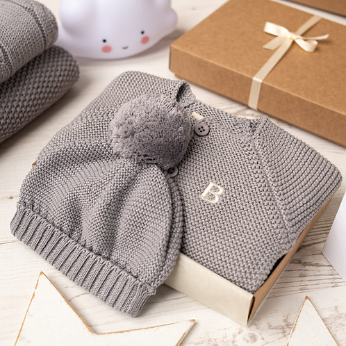 Hound Grey Baby Bubble Cardigan and Bobble Hat Gift Set