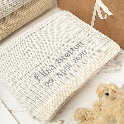 Glacier Grey & Cream Dainty Stripe Baby Blanket