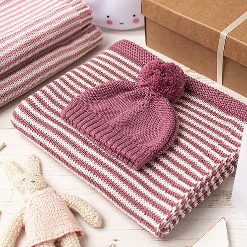 Dusky Rose and Cream Dainty Stripe Baby Blanket & Hat Set
