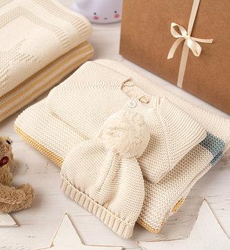 Ribbon Stripe Cream Baby Gift Set
