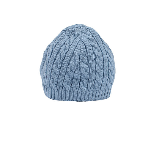 Toffee Moon Slate Blue Cable Baby Hat cut out
