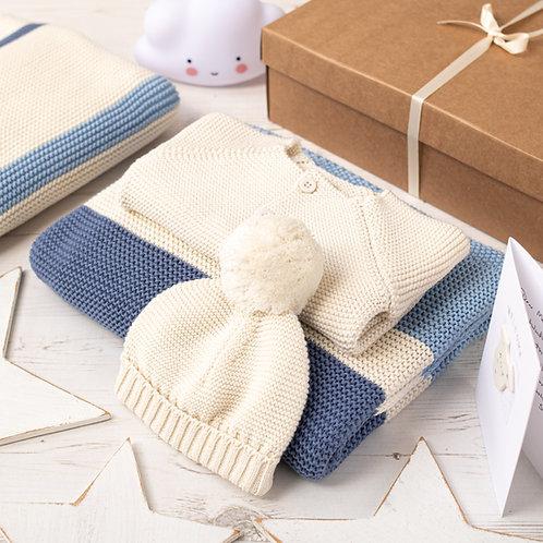 Candy Stripe Baby Boy Cream Gift Set