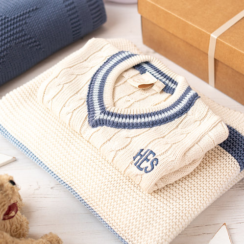 Toffee Moon Cream Cricket Jumper and Blue Ribbon Stripe Baby Blanket Gift Set