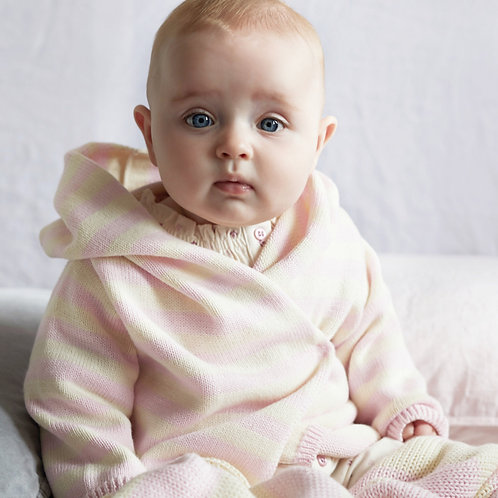 Cradle Pink & Cream Striped Hooded Baby Cardigan