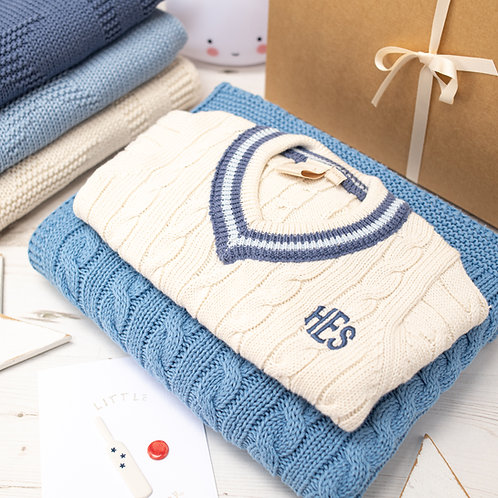 Cream Cricket Jumper and Slate Blue Cable Baby Blanket Gift Set