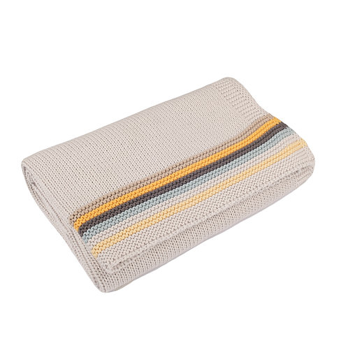 Arctic Grey Retro Stripe  Baby Blanket