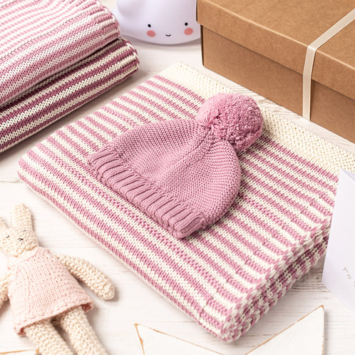 Dawn Pink and Cream Dainty Stripe Baby Blanket & Hat Set