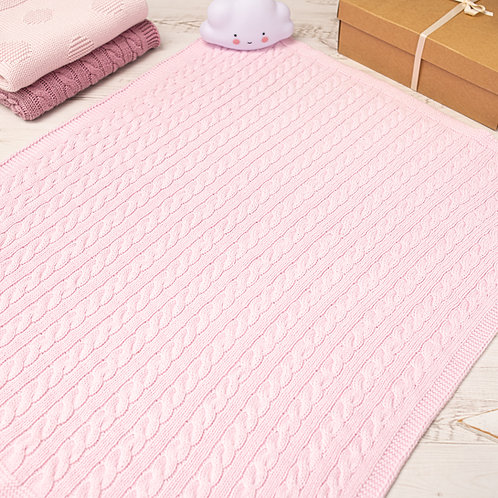Cradle Pink Cable Baby Blanket