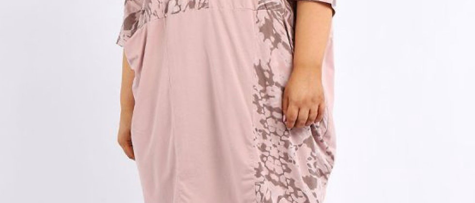 Italian Contrast Abstract Print Cotton Plus Size Cocoon Lagenlook Dress