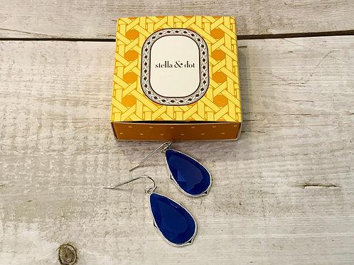 STELLA & DOT EARRINGS BLUE GRADE A GLASS
