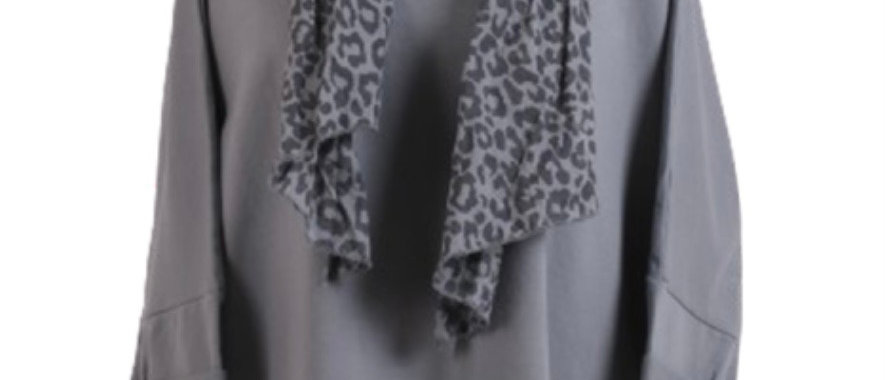 Italian Leopard Print Scarf & Dipped Hem Cotton Lagenlook Top