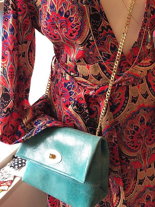Vera Pelle vegan pleather turquoise bag