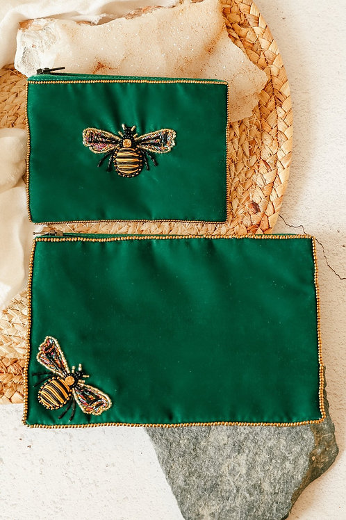 Emerald green Bee velvet pouch small