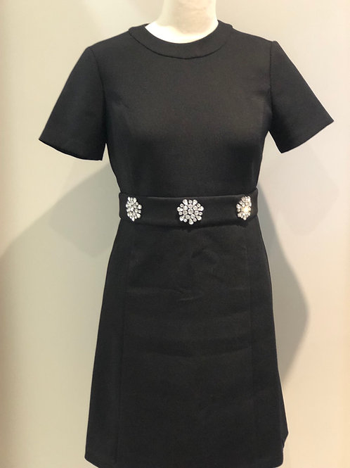 MICHAEL KORS FITTED BLACK DRESS WITH DIAMANTÉ FLOWERS SIZE SMALL