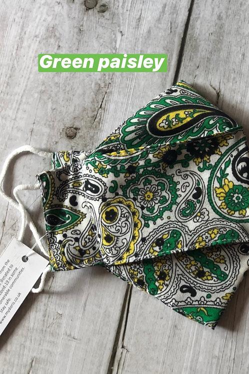 Green paisley UNICEF face mask