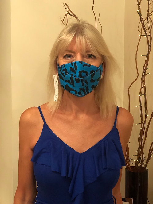Blue leopard face covering
