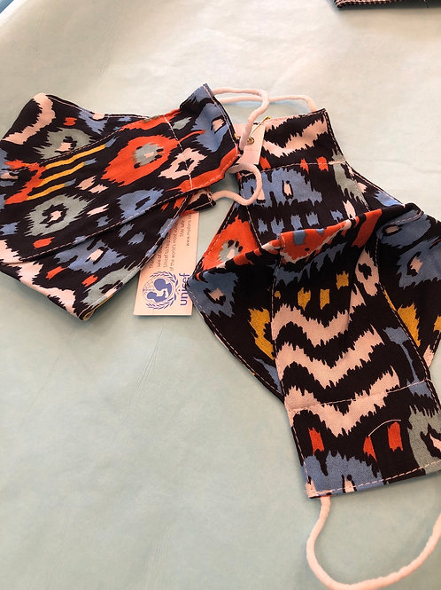 African orange & blue face covering