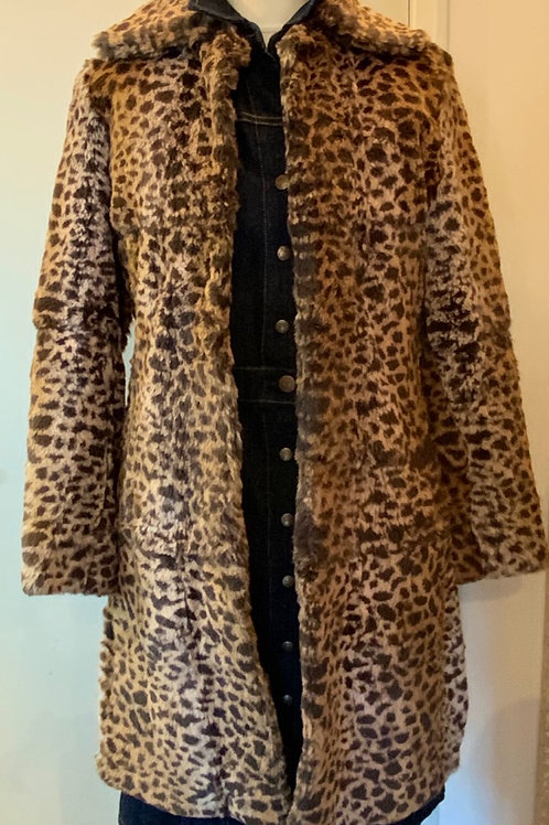 Wilsons leather leopard vintage fur coat size M