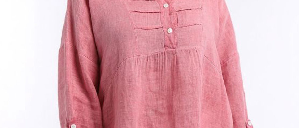 Made In Italy Plain Pleated Front Dip Hem Linen Tunic Top 6 COLOURS SIZ 10-16