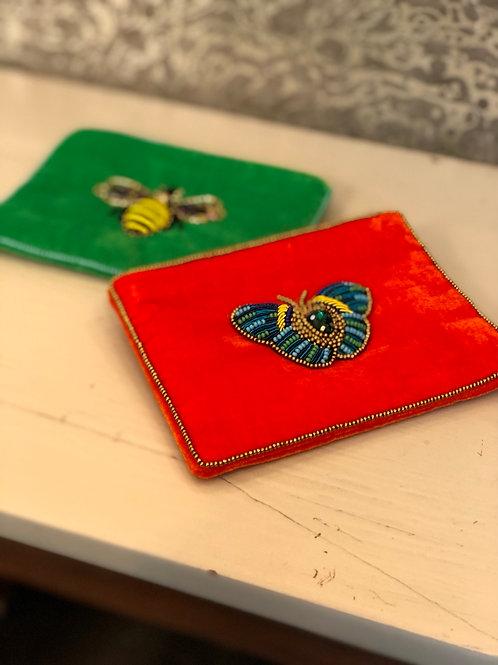 Butterfly beaded velvet purse