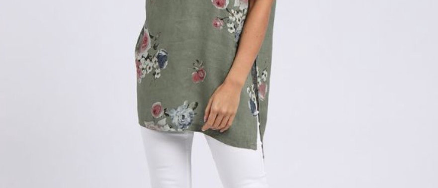 Made In Italy Rose Print Hi-Lo Hem Linen Lagenlook Top