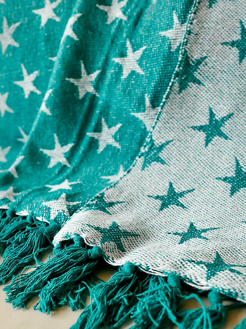 TURQUOISE REVERSIBLE STAR THROW