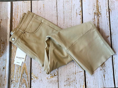 SELECTED FEMME LEATHER CROP TROUSERS