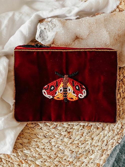 Velvet beaded ruby Moth purse