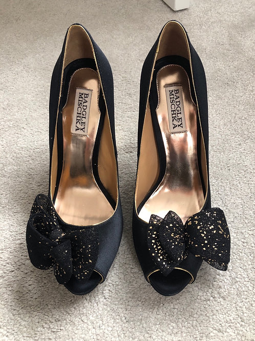 BADGLEY MISCHKA SATIN EVENING SHOES SIZE 5.5 (7.5 US)