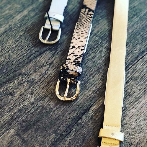Snake print leather belt