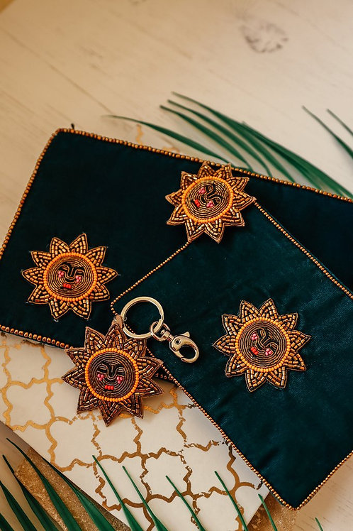Midnight sun velvet pouch small