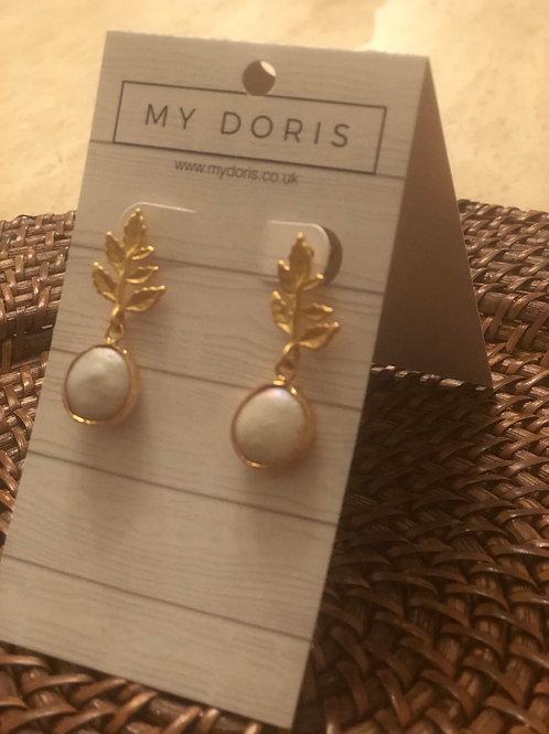 My Doris Pearl leaf earrings