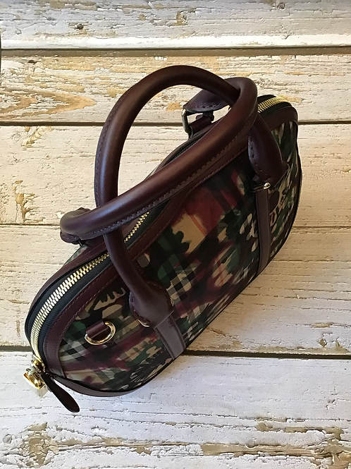 Burberry leather and canvas check handbag