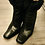 Thumbnail: BLACK LEATHER WITH REAL FUR TRIM SHORT BOOTS