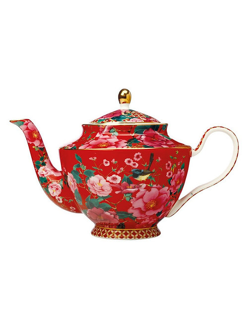 Teas & C's Silk Road Teapot with Infuser 1L Cherry Red Gift Boxed