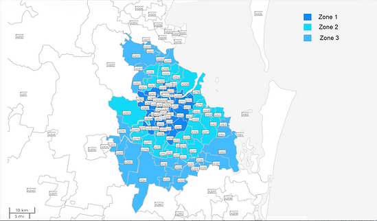 Zula Map of Brisbane post codes and zone