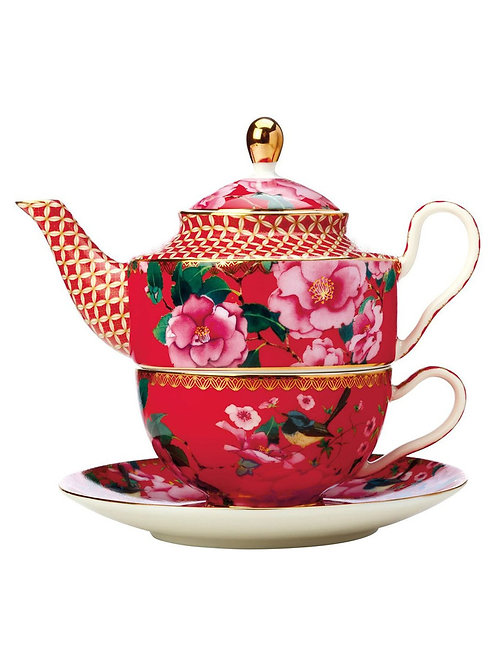 Teas & C's Silk Road Tea for One with Infuser 380ML Cherry Red Gift Boxed
