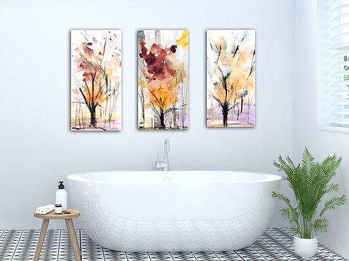 Autumn Trees Metal Print Set of 3
