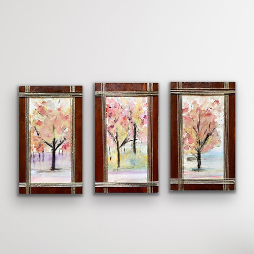 Pastel Trees Triptych