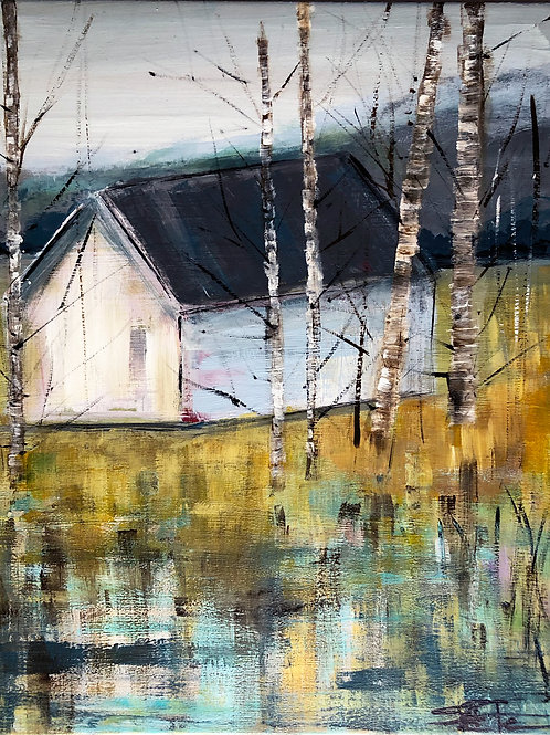 Barn Behind the Birches